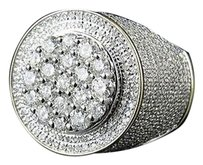 Other Mens 10k Yellow Gold Genuine Diamond Round 3d Cluster Pinky Ring 2.25ct 20mm