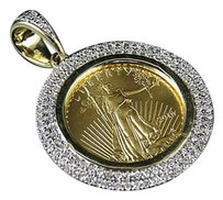 Other 24k Solid Yellow Gold Coin Lady Liberty Genuine Diamond Pendant Charm .44ct 1.2