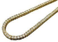 Other Mens 10k Yellow Gold Prong 1 Row Real Diamond Tennis Chain Necklace 14.75ct 26