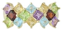 Other Multi-gemstone Ring- 14k Yellow Gold Peridot Blue Topaz Citrine Amethyst 1.55ctw