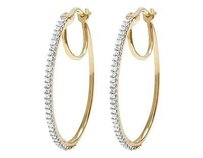 Other Ladies 10k Yellow Gold Real Diamond One Row Prong Hoop Huggie Earring .33ct 1.1