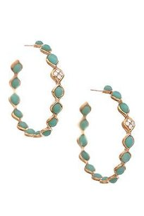 Elizabeth Showers 18k Gold Chrysoprase Diamond Simone Hoop Earrings
