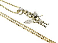 Other 10k Yellow Gold Crowned Angel Diamond 1.5 Pendant Charm .30ct 24 1.5mm Chain