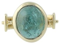 Other Indicolite Tourmaline Ring - 14k Yellow Gold Modern Solitaire 7.25ct