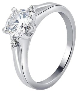 Other 14k White Gold Ladies Genuine Diamond Round Solitaire Engagement Ring 0.56ct