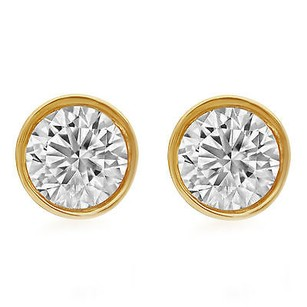 Other 14k Unisex Yellow Gold Round Genuine Diamond Solitaire Bezel Stud Earring 0.50ct