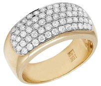 Other Mens 10k Yellow Gold Genuine Diamond Row Pinky Band Ring 1.30ct 10mm