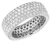 Other Ladies 14k White Gold Real Diamond 3d Eternity Anniversary Band Ring 4.41ct 7mm