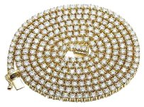 Other Real Diamond 14k Yellow Gold 1 Row Prong Mens Tennis Chain Necklace 24.86ct 4mm