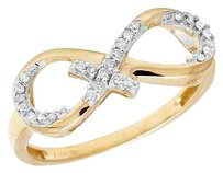 Other 10k Yellow Gold Real Diamond Ladies Infinity Cross Fashion Ring .10ct 7mm