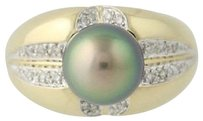 Other Tahitian Pearl Diamond Ring - 14k Yellow Gold 10mm Womens .20ctw