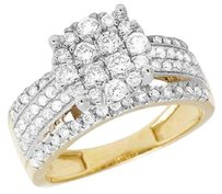 Other Genuine Diamond Round Cluster 10k Yellow Gold Ladies Engagement Ring 1.5ct 10mm