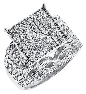 Other White Gold Finish Pave Simulated Diamond Square Top Engagement Wedding Ring