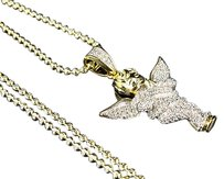 Mens .925 Sterling Silver Simulated Diamond Angel Pendant With Moon Cut Chain