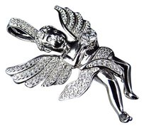 Other Simulated Lab Diamond Solitaire Angel Pendant Charm In White Gold Finish 1.75