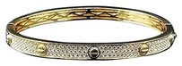 Other Unisex Sterling Silver Lab Diamond Designer Style Bangle In Yellow Gold Finish