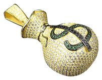 Other Yellow Gold Over Sterling Silver Lab Diamond Money Bag Piece Pendant Charm 2.25