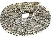 Mens Yellow Finish Two Row Simulated Lab Diamond Stainless Steel 316 Prong Chain