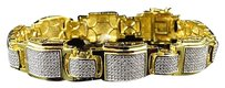 Mens Real Genuine Diamond Puzzle Style Bracelet Yellow Gold Finish 10mm 1.10ct