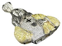 Mens 316 Stainless Steel Lab Diamond Canary Black Jesus Charm In White Finish