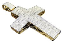 .925 Sterling Silver Simulated Diamond Cross Pendant Charm In Yellow Gold Finish