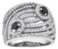 Other Ladies Simulated Diamond Tidal Wave Engagement Ring In White Gold Finish