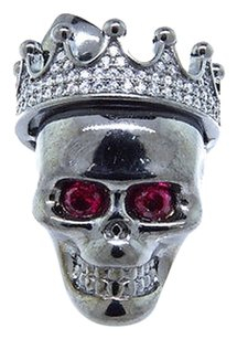 Other Black Gold Over Sterling Silver Lab Diamond Skull Head Piece Pendant Charm 1.25