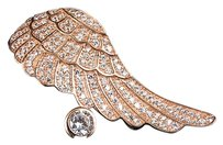 Rose Gold Over Sterling Silver Simulated Lab Diamond Angel Wing Pendant 1.65