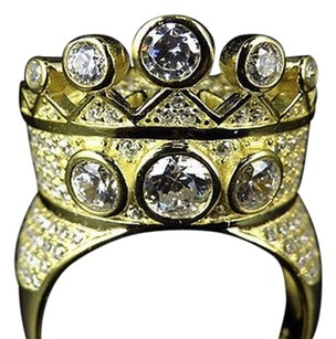 Sterling Silver Lab Diamond Designer Crown Style Ring In Yellow Gold Finish 23mm