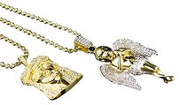 Lab Diamond Angel Jesus Charm With Chain Combo Set In Yellow Gold Finish 1.5