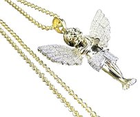Sterling Silver Winged Angel Lab Diamond Pendant Charm In Yellow Gold Finish