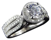 Lab Diamond Tri-band Halo Solitaire Engagement Ring In White Gold Finish 9mm