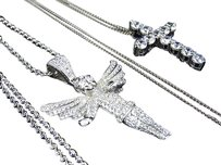 White Gold Over Sterling Silver Lab Diamond Angel Cross Pendant Charm Necklace