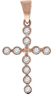 Other Ladies Sterling Silver Lab Diamond Round Cut Cross Pendant Finished In Rose Gold