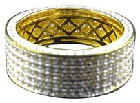 Other Mens Iced Out 3d Solid 925 Silver Pave Lab Diamond Eternity Pinky Band Ring