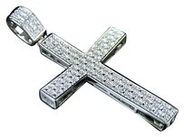 Icy Genuine Diamond Concave Cross Pendant Charm In White Gold Finish 2.0 .25ct