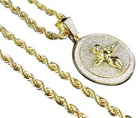 Mens Yellow Gold Brass With Diamond Cut Stylish Round Angel Coin Pendant 1.75