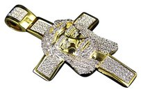 Other Mens Simulated Diamond Jesus Head Cross Charm Pendant In Yellow Gold Finish 2.0