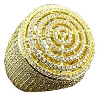 Mens Simulated Diamond Echo Round Micro Pave Ring In Yellow Gold Finish 26mm