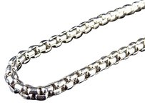 Other Sterling Silver Puffed Rolo Chain Necklace In White Gold Finish 28-36 3.5mm