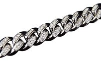 Mens White Gold Finish Sterling Silver Lab Diamond Cuban Royal Bracelet 9