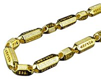 Mens Yellow Gold Sterling Silver 3d Lab Diamond Bullet Chain Necklace 7mm 32