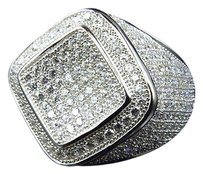 Ladies Icy Diamond Shape White Gold Over Sterling Silver Lab Diamond Ring