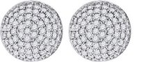 .925 Sterling Silver White Finish Simulated Diamond Round Dome Stud Earrings 9mm