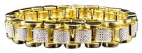 Other Mens Yellow Gold Simulated Lab Diamond Presidential Style Royal Bracelet 13mm 9