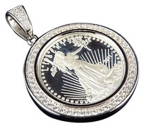 Other White Gold Finish Simulated Diamond Lady Liberty Coin Pendant 1.5 2.8 Grams