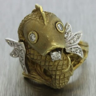 1960s Vintage Estate Womens 14k Solid Yellow Gold 0.55ctw Diamond Fish Ring