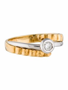 Estate 18k Two Tone Gold And Diamond Band