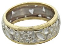 1930s Antique Art Deco 14k Yellow White Gold Two Tone Carved Filigree Band Ring