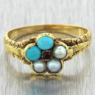 1870s Antique Victorian Estate 14k Solid Yellow Gold Turquoise Ruby Pearl Ring